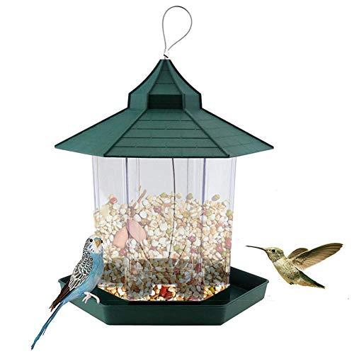 LUCYPAPASHOW Comedero de Aves Silvestres, Comedero para pájaros al Aire Libre, Comedero para pájaros en Forma de casa Comedero Colgante para pájaros Dispensador de Comida para pájaros, masterly