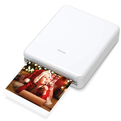"Victure 3x3"" Portable Photo Printer, Bluetooth Connection, Rechargeable, Including 10 Pieces of Photo Paper, Android/iOS/Tablet Devices Compatible, no Ink, Wireless,4 Pass Technology"