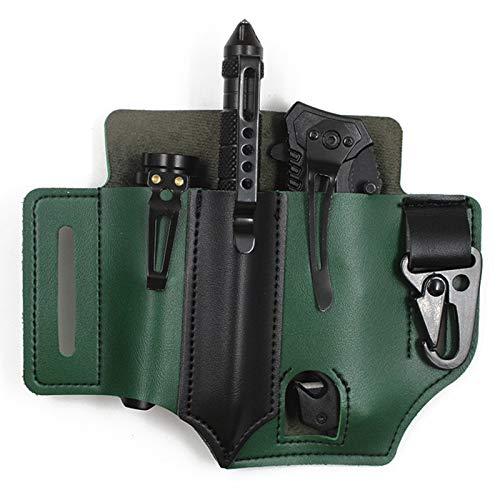 BOROMI EDC Lederscheide, Lederscheide Multitool, Multifunktionales EDC-Werkzeug PU-Leder-Taillenscheide zum Organisieren von Schlüsselanhänger Messern Taschenlampen und Mini-Werkzeugen (Grün)