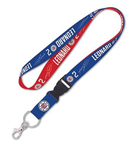 WinCraft Kawhi Leonard #2 Los Angeles Clippers Premium Llavero con cordón, 23 pulgadas de largo, 1 pulgada de ancho