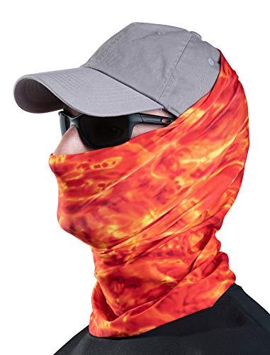 Aqua Design Fishing Hunting Masks Neck Gaiters for Men and Youth: UPF 50+ Sun Mask Protection: Camo Half Face Cover Balaclava Bandana: Liquid Lava: Size X-Large