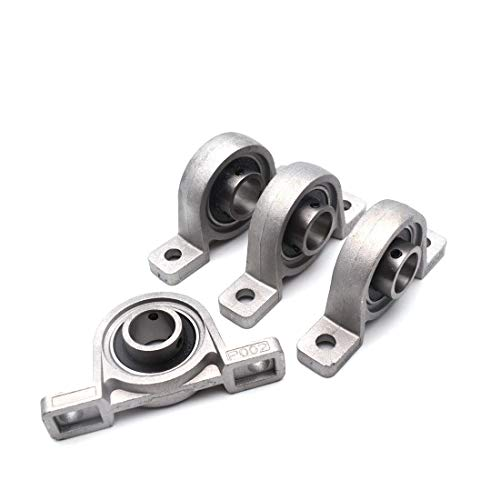 "Sydien 4pcs 15mm/0.59"" Bore Flange Mounted Pillow Block Bearing Zinc Alloy (15mm)"