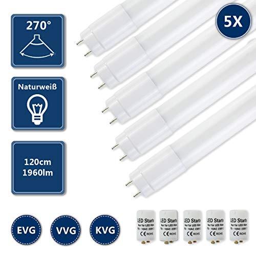 HOMEDEMO LED Röhre Leuchtstoffröhre 120cm T8 G13 Ersatz für Neonröhre 4000K Neutralweiß 17W 1960lm Lichtleiste Deckenleuchte Bürolampe inkl. Starter 5er Pack