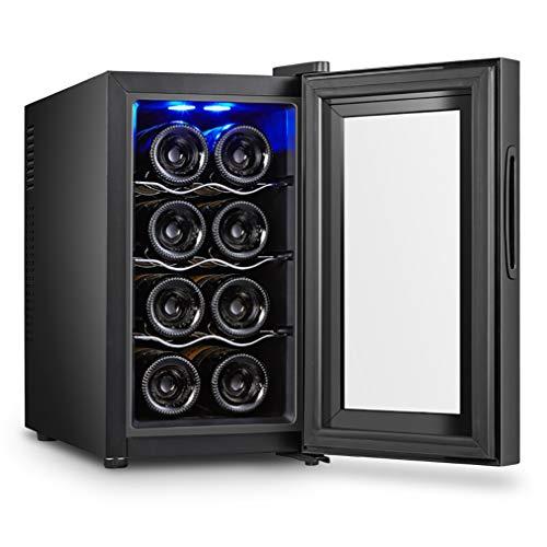 JCJ-Shop Freistehender Haushaltsweinkühler 8 Flaschen (bis 453 mm Höhe), Temperaturzonen 8-18 ° Touchscreen Mini-Weinkühlschrank, Weinkeller mit Glastür, [Energieklasse A]