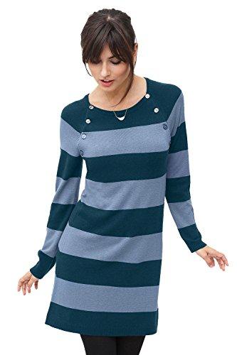 Milker Liddy - Robe d'allaitement Robe maternité Douce en Laine/Viscose, Manches Longues Bleu-Bleu Ciel Stripe Taille L