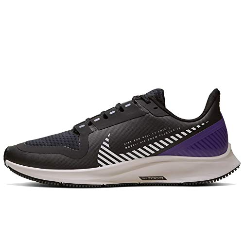 Nike Women's W AIR Zoom Pegasus 36 Shield Running Shoes, Black (Black/Silver-Desert Sand-Voltage Purple-Volt 002), 5 UK