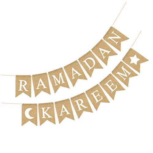 PRETYZOOM Ramadan Kareem - Banderines de tela de yute, guirnalda de banderines de Eid Mubarak suministros de fiesta de Ramadán Musulmán Islam, fiesta, hajj casa chimenea