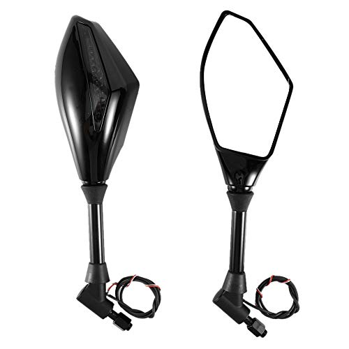Specchietto retrovisore Moto, ABS + materiale in vetro Indicatore degli indicatori di direzione Specchietti laterali Specchietto da manubrio a LED Nero adatto per scooter da 10 mm 0,4 pollici Moto da