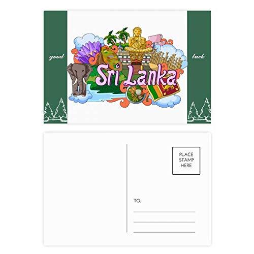 Dambulla Olifant Sri Lanka Graffiti Veel geluk Postkaart Set Kaart Mailing Zijde 20 stks