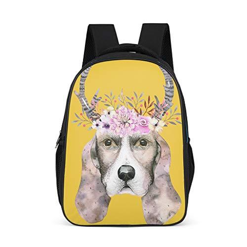 Charzee Hund, der einen Kranz trägtdrucken Jugendliche Kinder Schulranzen Mini Cute Schultasche Backpack Mädchen&Junge Freizeitrucksack für Unterwegs Shopping aus Polyester Grey OneSize