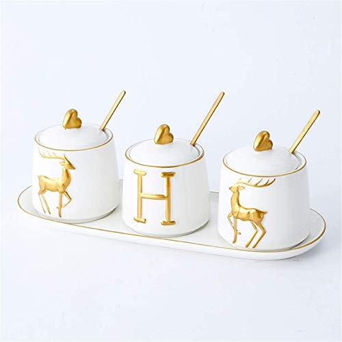 Keramiek Suikerpot, Kruidenpot met Bamboe Deksel en Lepel, Kruidenkist, Bewaarblikken voor Voedsel Zout Peper Kruiden Container Pot Gebruiksvoorwerpen Lade, D