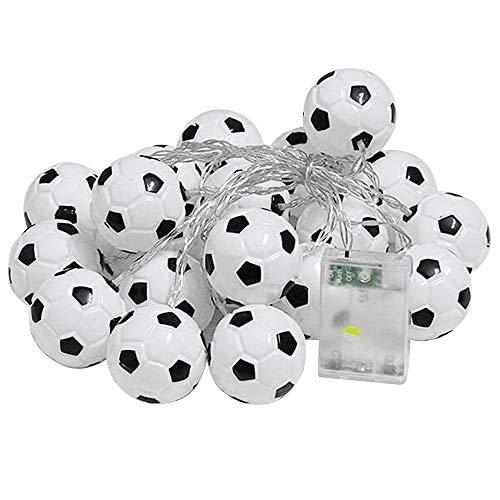 Fußball Lichterkette LED Kugel Lichterkette Batteriebetrieben Innen Dekoration für Kinder Bekleidungsgeschäft Kinderzimmer Dekoration Warmweiß (20 LED 2M)