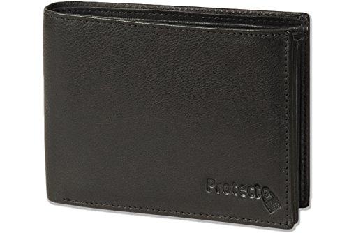 Protecto - Portafoglio bullone Premium in formato orizzontale con il sistema RFID Blocker in pelle di bufalo naturale