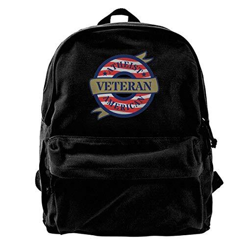 Haloxa Atheist American Veteran Vintage Unisex Canvas Shoulder Bag Travel Backpack School Bags