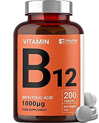 Vitamin B12 with Folic Acid - 200 Premium Quality 1400mcg Tablets to Boost Mood, Energy, Concentration and the Immune System - 6 Month Supply by Calibre Nutrition