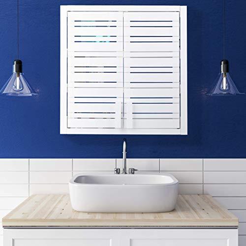 Relaxdays wandkast van bamboe, 2 deuren, in hoogte verstelbare planken, vierkante hangkast, 56,5 x 56 x 21 cm, wit
