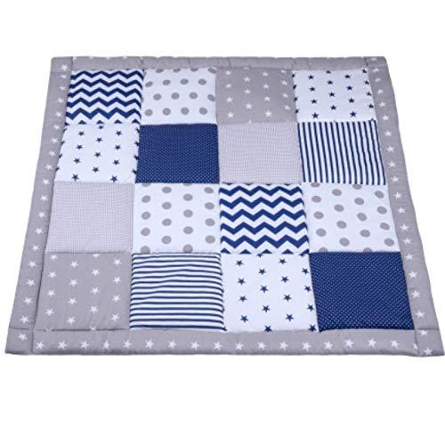 Krabbeldecke Patchwork 100x100 Spieldecke Baby - Patchworkdecke für Jungen als laufgittereinlage groß gepolstert Grau-Blau Öko-Tex Standard 100