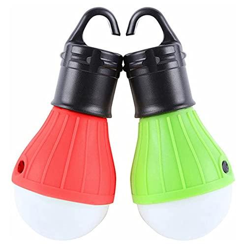 JVSISM 2 Luces de Tienda Luz de Emergencia LED PortáTil Bombilla de Luz para Acampar Equipo para Acampar Senderismo Mochila Pesca Rojo + Verde