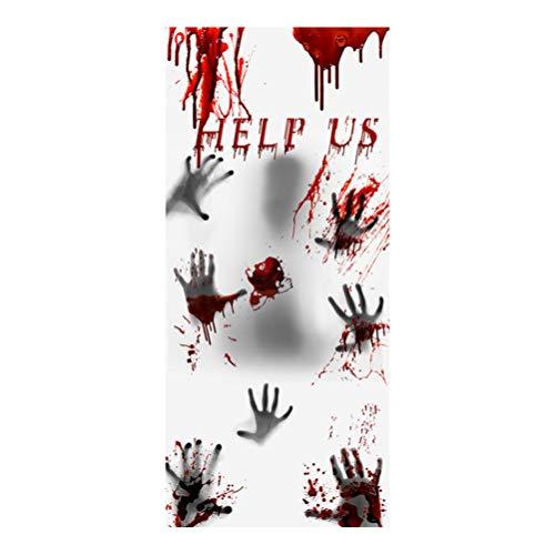 Amosfun Halloween Helfen Uns Aufkleber Halloween Türvorhang Beängstigend Hängenden Bildschirm für Party (Weiß)