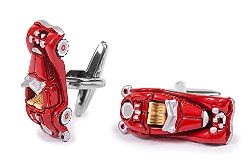 Nosologemelos - Manschettenknöpfe für Herrenhemd - Modell Rotes Auto - Kippverschluss - Nicht Rostend, Antiallergisch, Nickelfrei - Hergestellt aus Messing - Geschenk für Herren