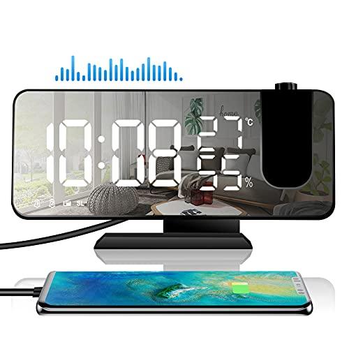 Radiowecker Digital,Wecker mit Projektion 180°,Projektionswecker mit USB-Anschluss Led-Anzeige Snooze Dual-Alarm Temperatur & Luftfeuchtigkeitsanzeige,4 Projektionshelligkeit für Schlafzimmer(Schwarz)