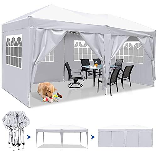 Cenador impermeable 3 × 6 m, cenador de jardín con protección UV de paredes, tienda de recepción, plegable, tienda exterior ajustable de carpa con ventanas para boda de fiestas, color blanco