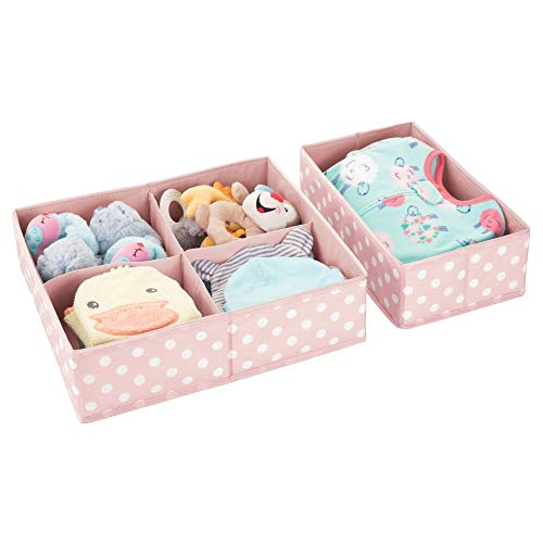 mDesign Juego de 2 cajas de almacenaje para habitaciones infantiles o baños – Organizadores de armarios infantiles con 4 y 1 compartimentos – Cestas organizadoras en fibra sintética – rosa/blanco