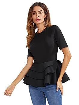 Romwe Women s Vintage Layered Ruffle Hem Slim Fit Round Neck Peplum Blouse Black S