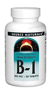 Source Naturals Vitamin B-1 Thiamin 500mg - High Potency, 100% Pure - 50 Tablets