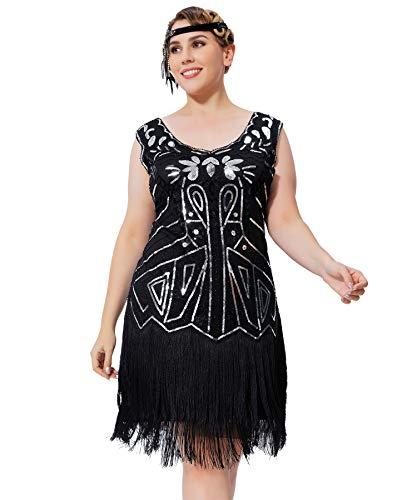 Geplaimir 20er Jahre Kleider Damen Flapper Dress Charleston Kleider V Ausschnitt The Great Gatsby Motto Party Fasching Karneval Kostüm Schwarz Silber Große Größen 013D4XL