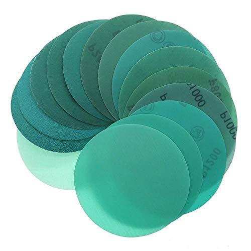 10 piezas de 5 pulgadas, 125 mm, 60 a 2000 granos, película de gancho y bucle, papel de lija verde, disco de lijado, óxido de aluminio, abrasivo, lijadora orbital, almohadillas (grano: 400)