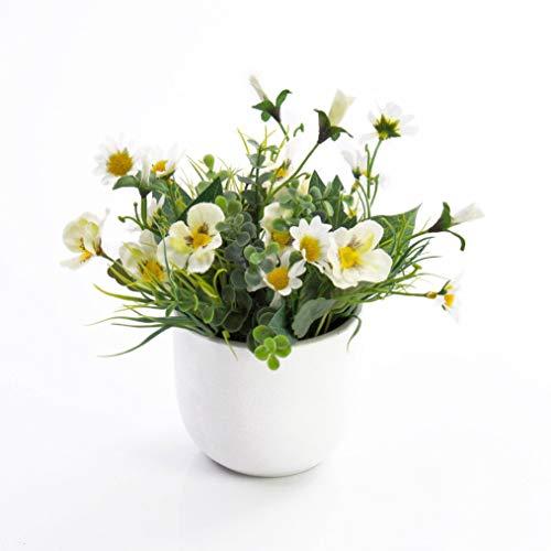 artplants.de Künstliche Stiefmütterchen und Margeriten Tamina im Topf, weiß - gelb, 20cm, Ø 23cm - Deko Sommer Blumen - Unechte Wiesenblumen