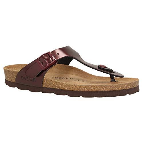 Zweigut® -Hamburg- luftig #555 Damen Zehentrenner Sandalen Schuhe Sommer mit Soft Leder-Komfort-Fußbett, Schuhgröße:36, Farbe:weinrot