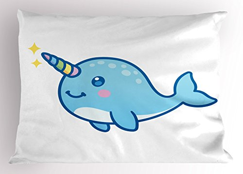 Ambesonne Narwhal Pillow Sham, Cartoon Drawing Style Whale with Rainbow Horn Unicorn of The Ocean Arctic Animal, Decorative Standard Queen Size Printed Pillowcase, 30' X 20', Pastel Blue