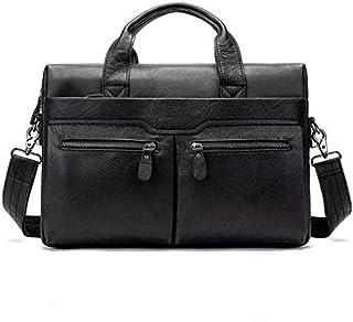 FYXKGLan Men's Handbag Shoulder Briefcase Leather Business Bag Casual Top Layer Leather Male Shoulder Bag (Color : Black)