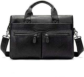 YXHM AU Men's Handbag Shoulder Briefcase Leather Business Bag Casual Top Layer Leather Male Shoulder Bag (Color : Black)