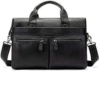 Men's Handbag Shoulder Briefcase Leather Business Bag Casual Top Layer Leather Male Shoulder Bag (Color : Black)
