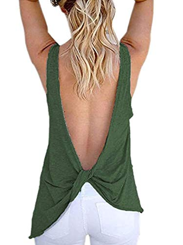 Famulily Women's Sexy Sleeveless Open Back Shirt Knotted Tank Top (Medium, Army Geen)