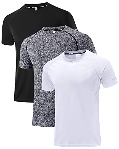 Holure Men s Sportswear Breathable Quick-Drying Short-Sleeved T-Shirt Black Heather Grey White M