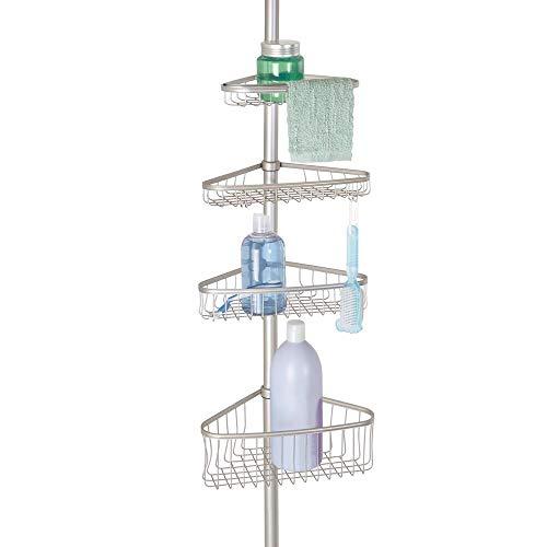 mDesign Organizador de ducha ajustable – Estante para ducha de metal – Cesta de ducha sin taladro ideal para champú, cuchillas, esponjas y otros accesorios de baño – Satinado