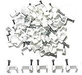 Plástico blanco plano Cable eléctrico Clips de Cable TV Internet Flipmycover hiks fijaciones 50 piezas