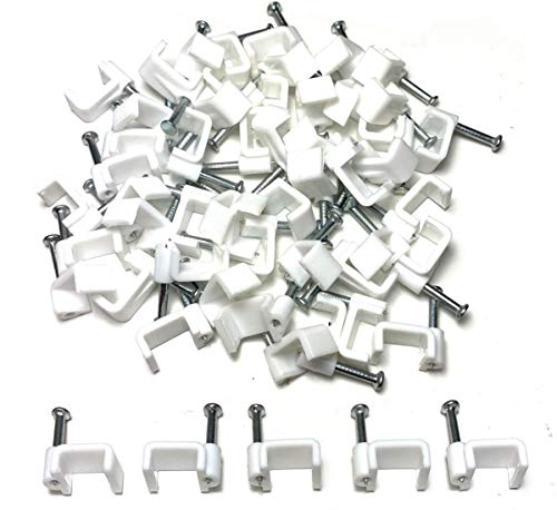 Electrical Wire, Kunststoff, Weiß, Kabel-Clip, flach, Telefon, Internet, TV-Kabel, Montagezubehör, 50 Stück
