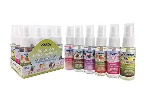 Prady - 12 x 30ML Solución Hidroalcohólica Con Aroma a Chuches. Mora, Piruleta, Coco, Chicle, Mango, Vainilla
