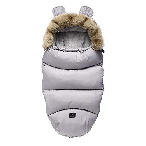 Drizzle Mantas envolventes Interior Franela al aire libre anti-patada saco de dormir del bebé impermeable cálido recién nacido niña 0-36 meses edredón del bebé (Gray)