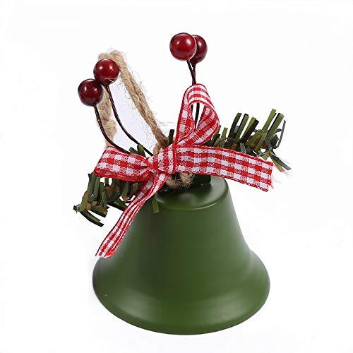 XiXiShangMao Weihnachtsglocken-Anhänger aus Hanfseil, Stechpalmenbeere, Weihnachtsglocken-Anhänger, 10 grüne Hornglocken