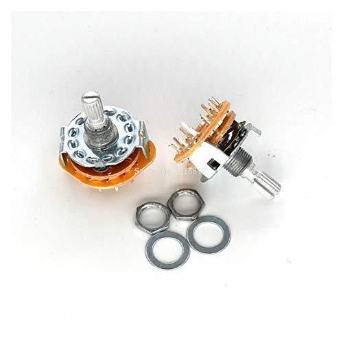 DONGMAISM Interruptor Giratorio 2PCS / Lot RS25 Panel de Eje Montaje 1P11T 2P4T 2P5T 2P6T 3P3T 3P4T 4P3T Banda selectora de Interruptor Giratorio (Color : 1P11T)