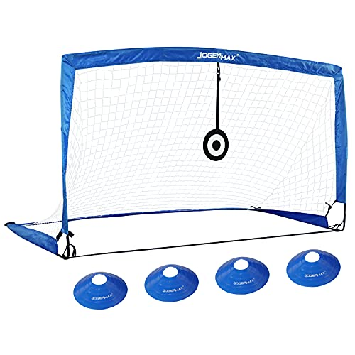 JOGENMAX Portable Soccer Goal, Pop-Up Soccer Goal Net with Aim Target, 1PCS, with Agility Training Cones, Indoor or…