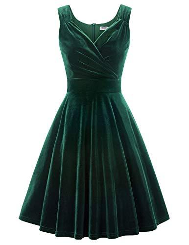 GRACE KARIN Mujer Vestido Verde Oscuro para Fiesta Cóctel M CL011108-3