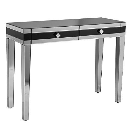 Beautify Verspiegelter Schminktisch Schwarz - Konsole / Vanity / Schreibtisch - 2 Schubladen