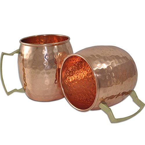 DakshCraft  Handmade puro rame martellato Moscow Mule Tazza, Set di 2 tazze